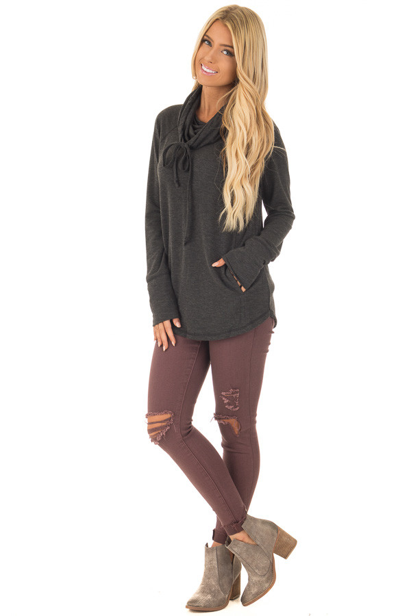 Charcoal Cowl Neck Long Sleeve Comfy Top with Pockets front full body