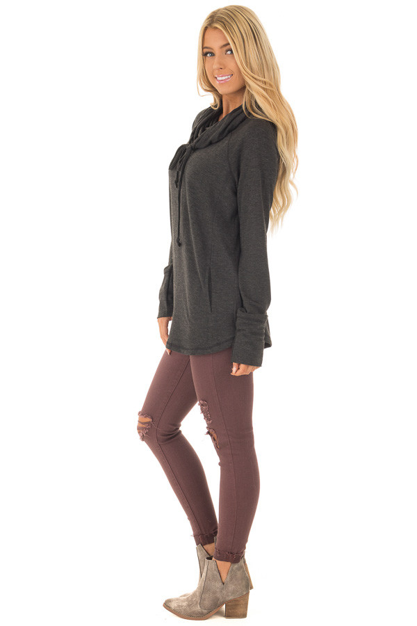 Charcoal Cowl Neck Long Sleeve Comfy Top with Pockets side full body