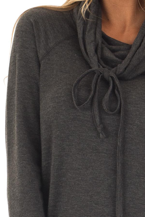 Charcoal Cowl Neck Long Sleeve Comfy Top with Pockets detail