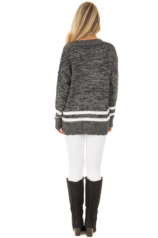 Black Two Tone Sweater with Double Lines back full body
