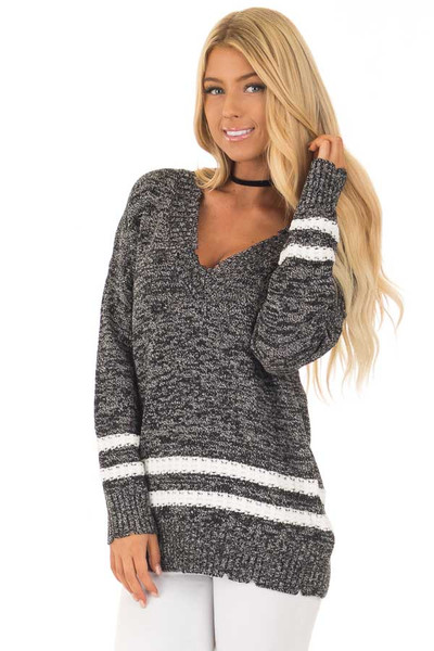 Black Two Tone Sweater with Double Lines front close up