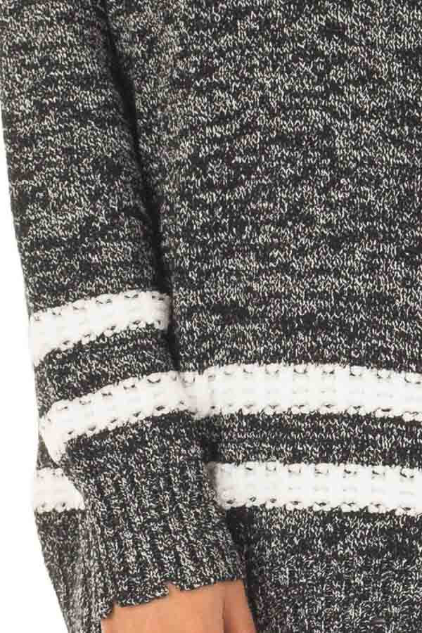Black Two Tone Sweater with Double Lines detail