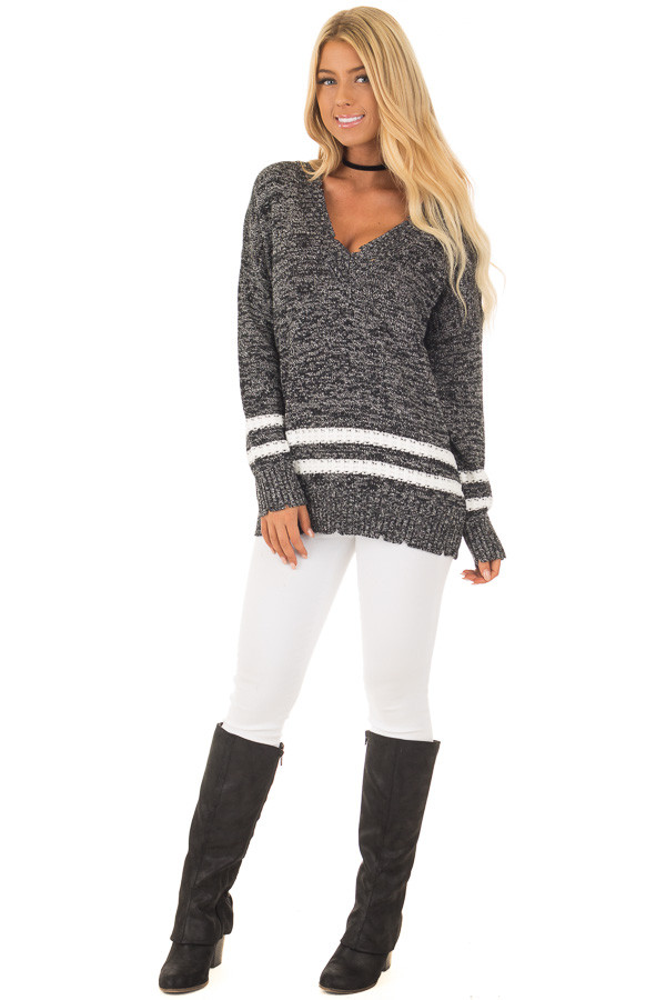 Black Two Tone Sweater with Double Lines front full body