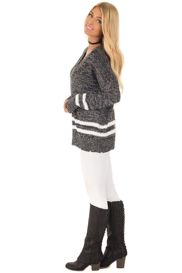 Black Two Tone Sweater with Double Lines side full body