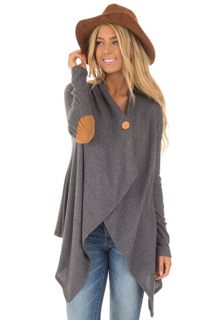 Charcoal Ribbed Knit Asymmetrical Cardigan with Button Detail front close up