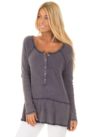 Navy Mineral Wash Waffle Tee with Flared Hemline front close up