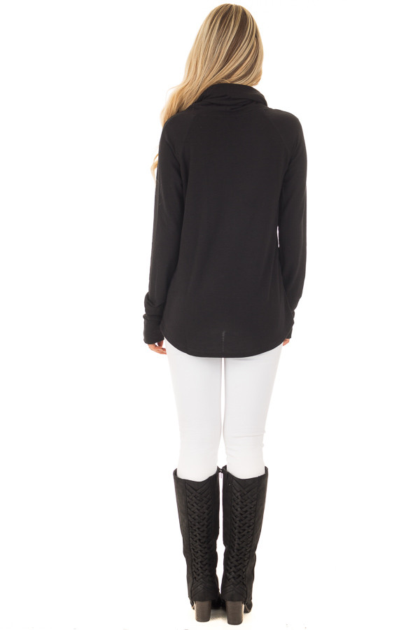 Black Cowl Neck Long Sleeve Comfy Top with Pockets back full body