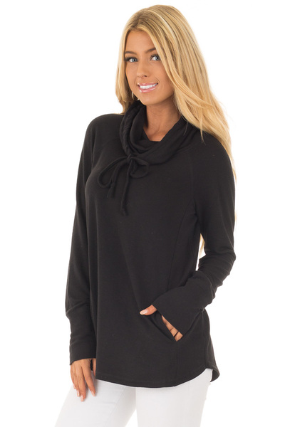 Black Cowl Neck Long Sleeve Comfy Top with Pockets front close up