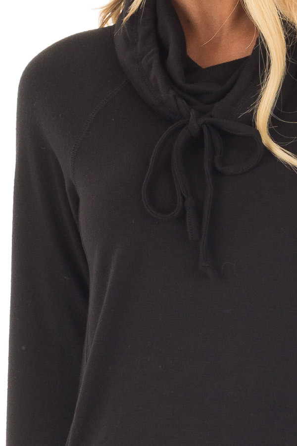 Black Cowl Neck Long Sleeve Comfy Top with Pockets detail