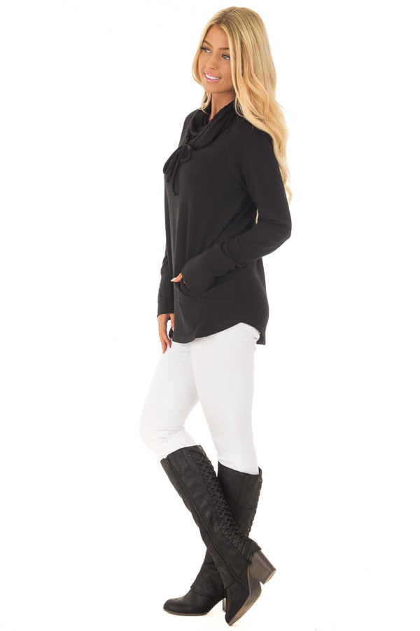 Black Cowl Neck Long Sleeve Comfy Top with Pockets side full body