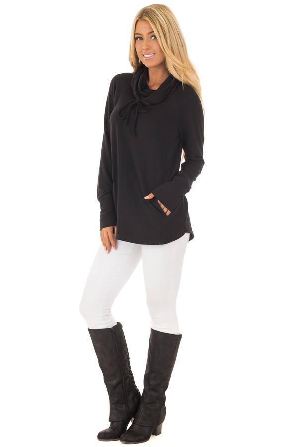 Black Cowl Neck Long Sleeve Comfy Top with Pockets front full body