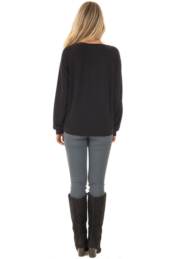 Black Long Sleeve Top with Front Tie Detail back full body