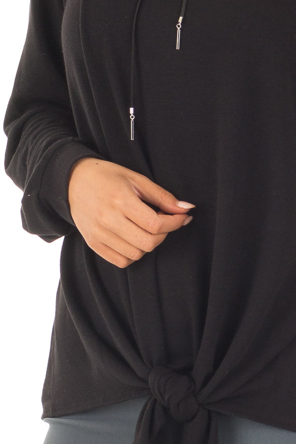 Black Long Sleeve Top with Front Tie Detail detail