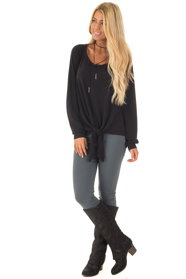 Black Long Sleeve Top with Front Tie Detail front full body