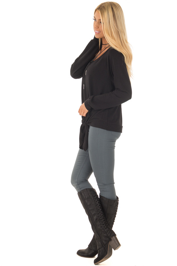 Black Long Sleeve Top with Front Tie Detail side full body