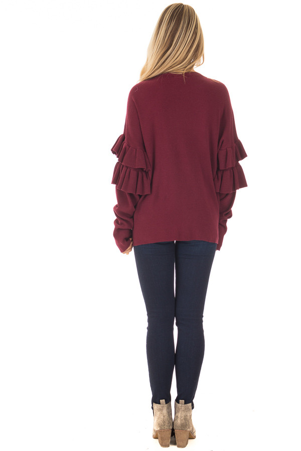 Burgundy Knit Sweater with Ruffles back full body