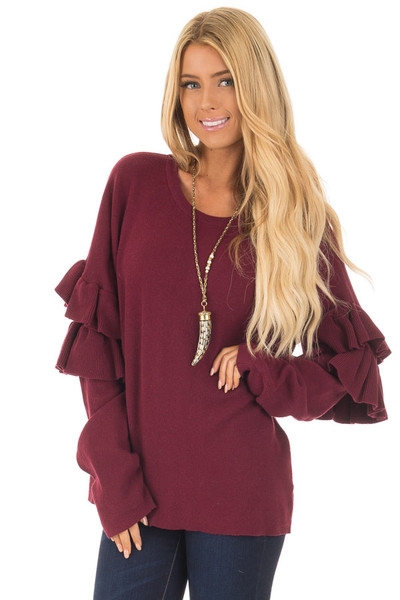 Burgundy Knit Sweater with Ruffles front close up