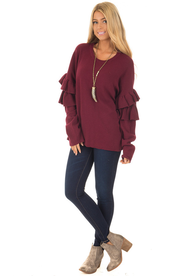 Burgundy Knit Sweater with Ruffles front full body