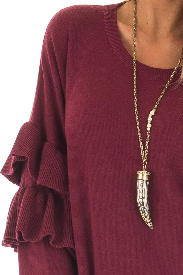Burgundy Knit Sweater with Ruffles detail
