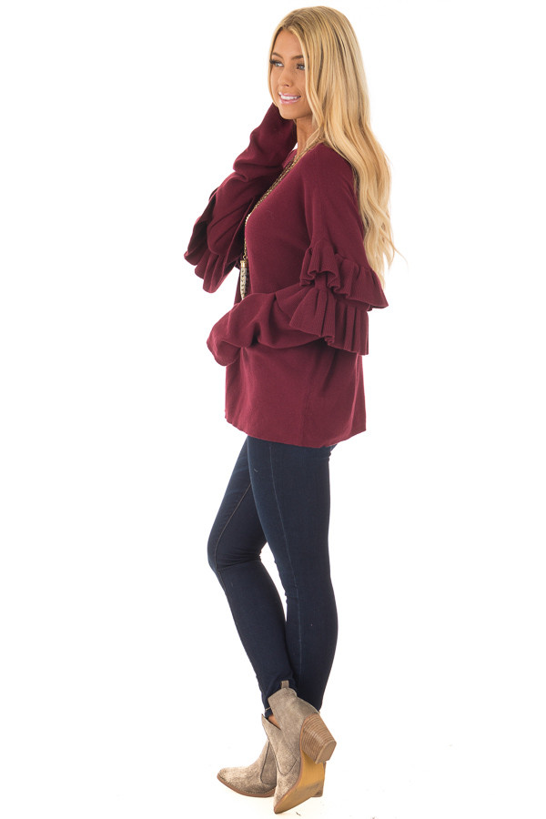 Burgundy Knit Sweater with Ruffles side full body