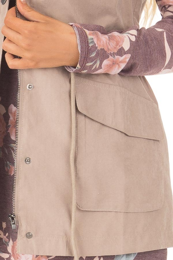 Beige Zip Up Button Vest with Draw String and Pockets detail