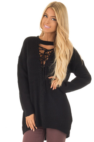 Black Knit Sweater with Lace Up Neckline front close up