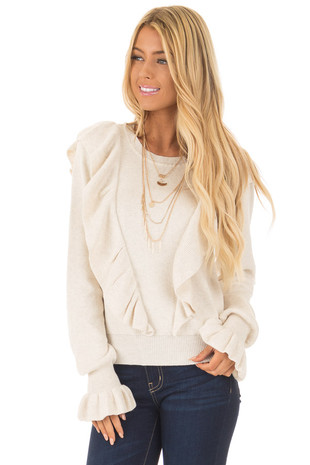 Oatmeal Sweater with Ruffles front close up