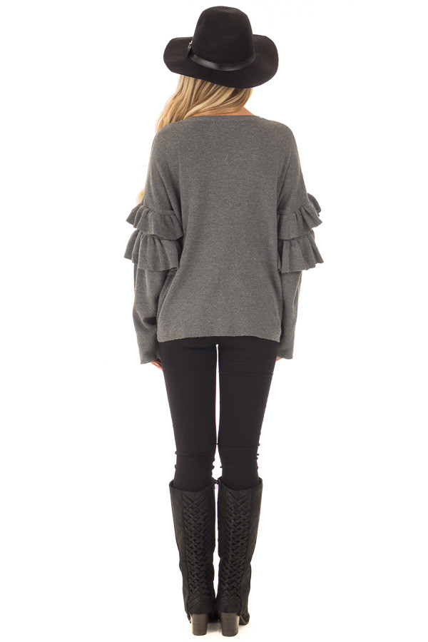 Charcoal Knit Sweater with Ruffles back full body