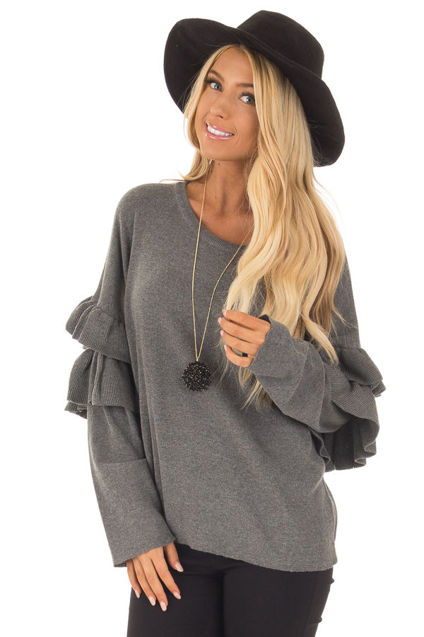 Charcoal Knit Sweater with Ruffles front close up
