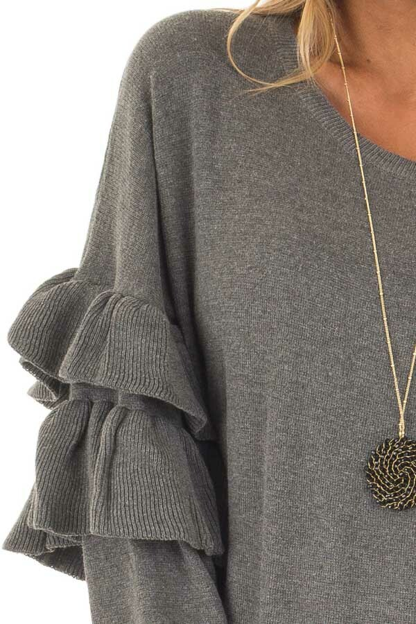 Charcoal Knit Sweater with Ruffles detail