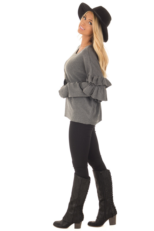 Charcoal Knit Sweater with Ruffles side full body