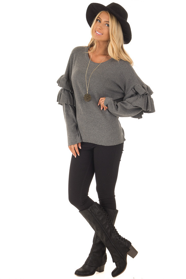 Charcoal Knit Sweater with Ruffles front full body