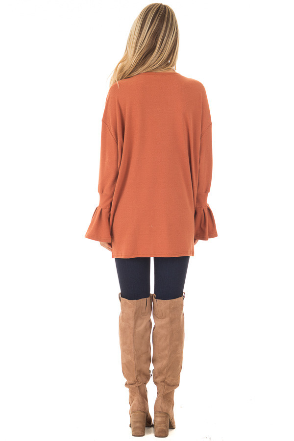 Brick Sweater with Bell Sleeves back full body