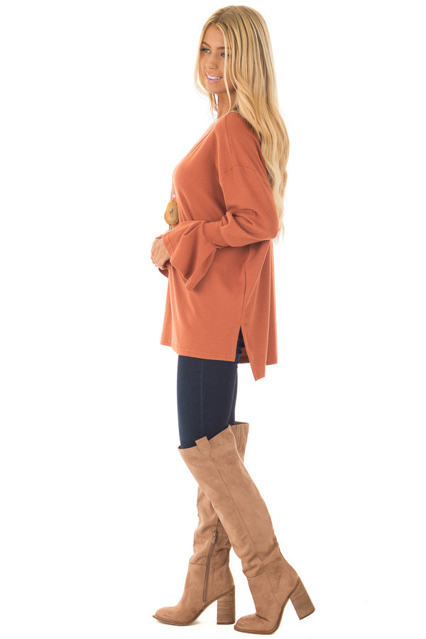 Brick Sweater with Bell Sleeves side full body