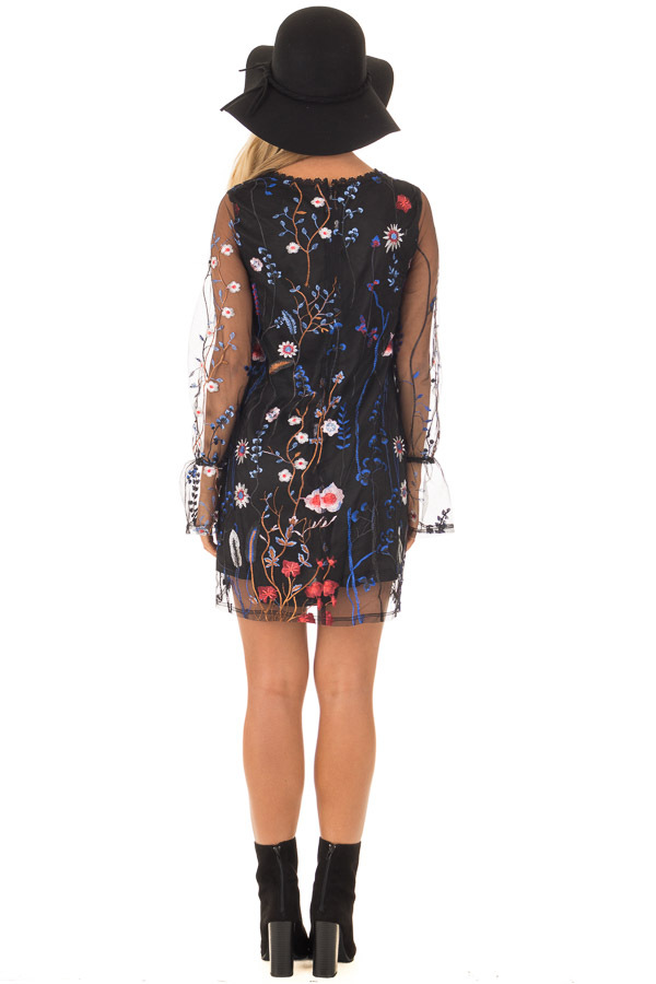 Black Dress with Floral Embroidery and Sheer Sleeves back full body