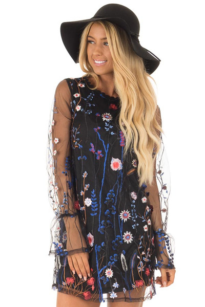 Black Dress with Floral Embroidery and Sheer Sleeves front close up