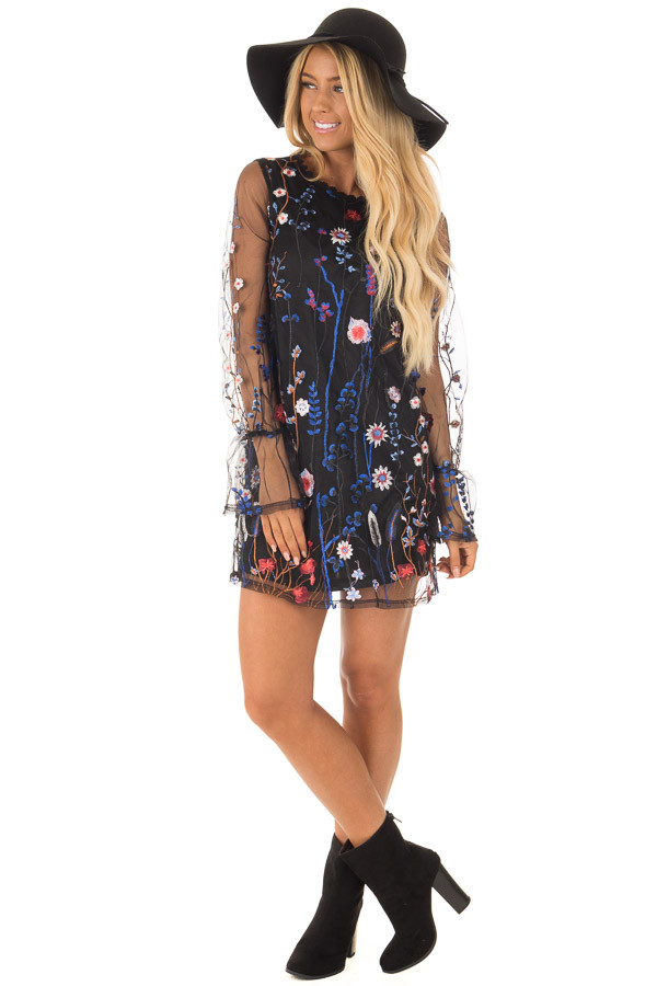 Black Dress with Floral Embroidery and Sheer Sleeves front full body