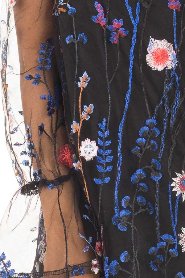 Black Dress with Floral Embroidery and Sheer Sleeves detail