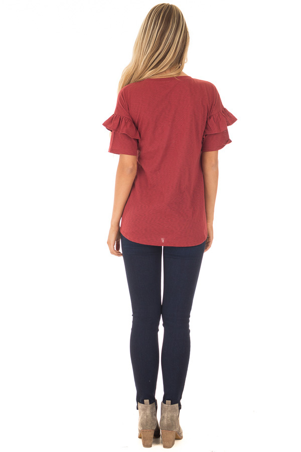 Brick Tee with Ruffles and Breast Pocket back full body