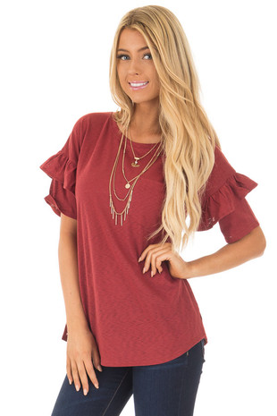 Brick Tee with Ruffles and Breast Pocket front close up