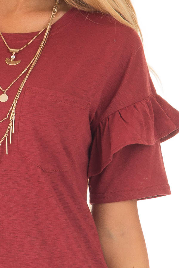 Brick Tee with Ruffles and Breast Pocket detail