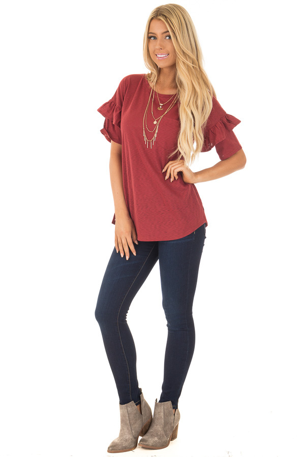 Brick Tee with Ruffles and Breast Pocket front full body