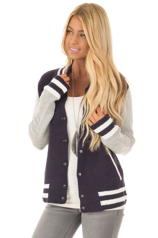 Navy Varsity Snap Up Sweater with Pockets front close up