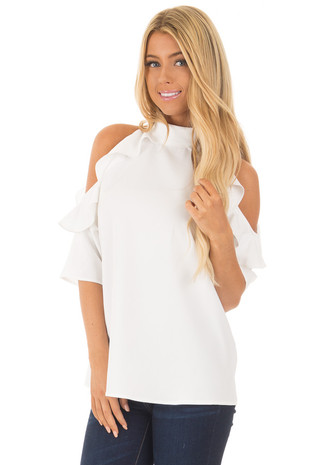 White Cold Shoulder Blouse with Ruffles front close up