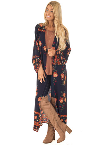 Navy Kimono with Floral Print front full body