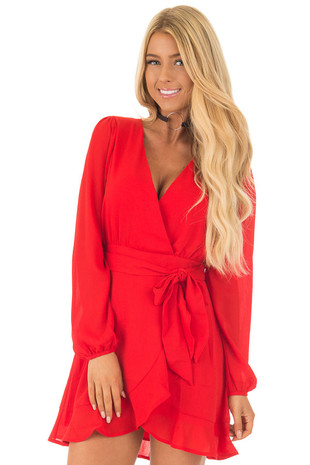 Lipstick Red Chiffon Long Sleeve Dress front close up
