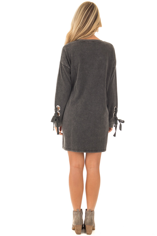 Black Mineral Wash Dress with Tie Details on Sleeves back full body