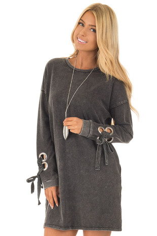 Black Mineral Wash Dress with Tie Details on Sleeves front close up