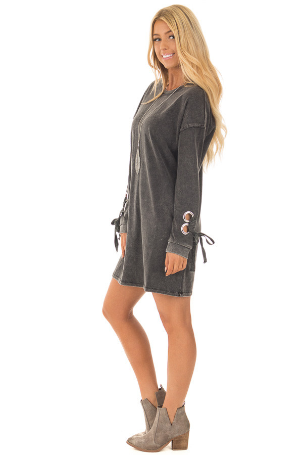 Black Mineral Wash Dress with Tie Details on Sleeves side full body