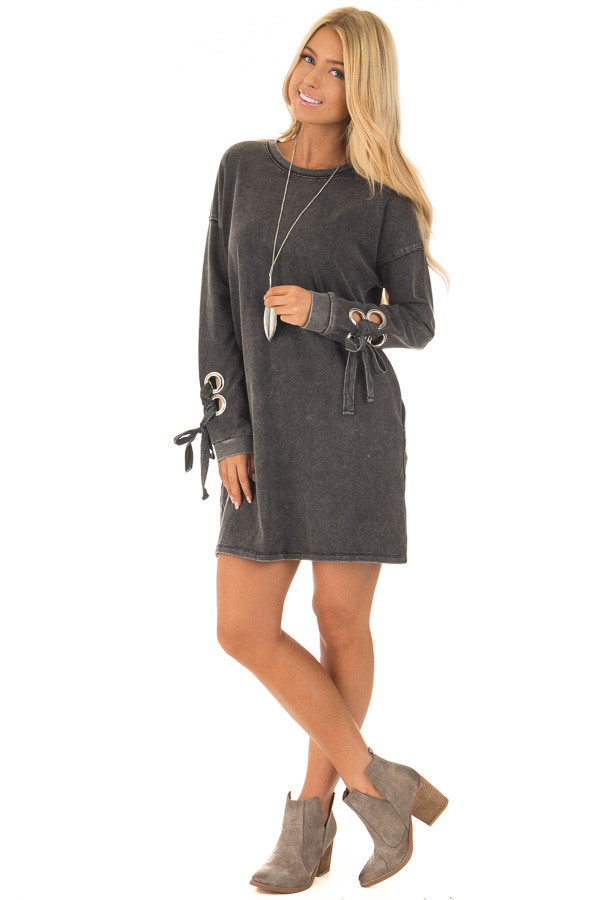 Black Mineral Wash Dress with Tie Details on Sleeves front full body